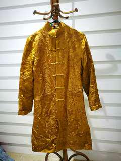 Oriental Gold Satin Coat Embroidered Hippie Festival