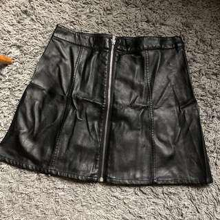 H&M Black Leather Zip Up Skirt