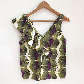 Zara printed sleeveless top blouse v neck with ruffle
