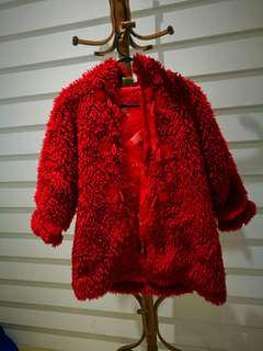 BILLIE CART Vintage Teddy Oriental Fluffy Furry Red Coat