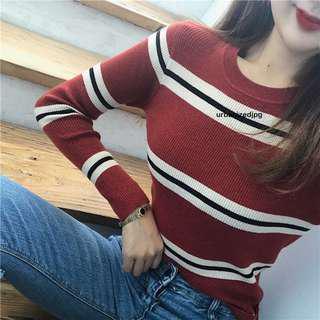 Korean knitted Stripe Long Sleeve Top