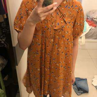 🚚 Lowrys Farm 橘色碎花雪紡長版上衣