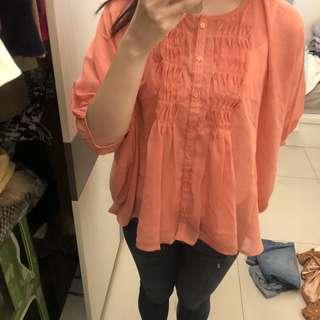 🚚 Heather 橘粉色雪紡上衣