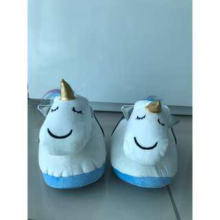 Typo Novelty Comfy Unicorn Home Slippers White Color