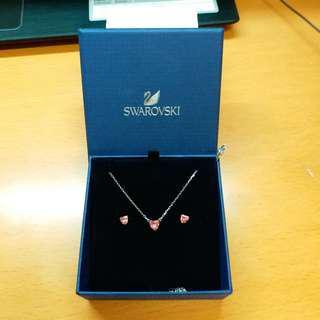 [New] Swarovski Set (頸鏈 & 耳環) [粉紅色心型]