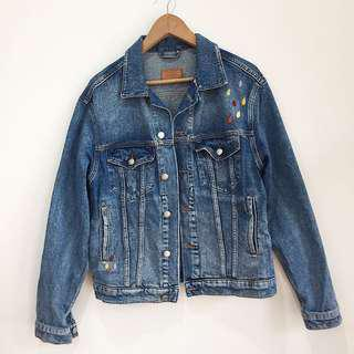 ONE OF A KIND Zara relaxed oversized vintage style embroidered denim jeans jacket