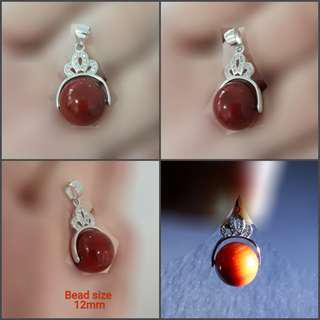 Very nice Famous Chinese Carnelian spinning pendant (南红玛瑙转运珠吊坠), set in 925 silver with zirconia.