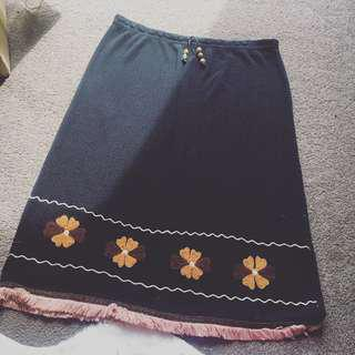 Vintage Black Skirt with Warm Toned Colourful Embroidery & Fringe