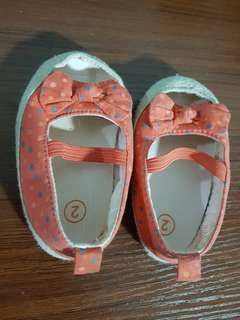 PL baby shoes coral peach open toe