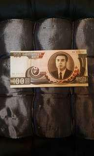 1978 100 won North Korea unc note.