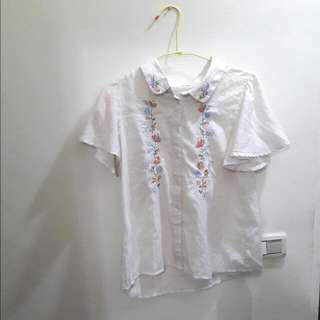 日貨古著純棉刺繡襯衫