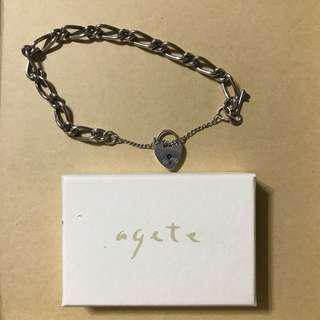 🚚 Agete 愛心 鎖頭 925純銀 手鍊 輕珠寶
