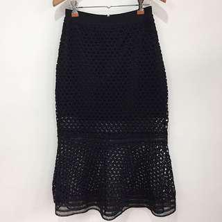 Black brocade lace mermaid bodycon skirt ruffle