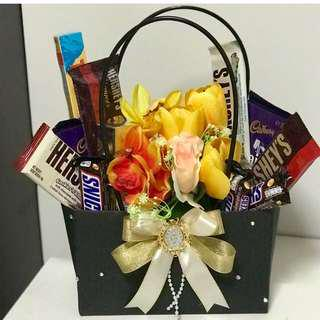 CHOCOLATES and FLOWERS IN A BAG / hamper