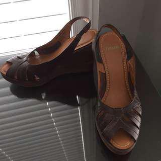 Nicole Leather Wedge Sandals
