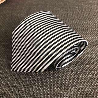 Black and white stripe tie - 100% silk