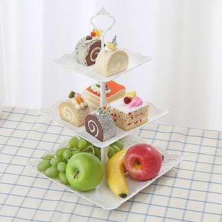 Brand new Plastic three tier cupcakes display dessert stand party cake decorations plates birthday wedding
