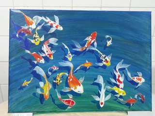 Canvas Painting Koi Fish Tank