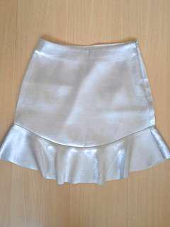 H&M Metallic Silver Skirt (Size: Small)