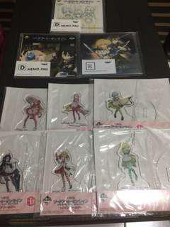 Sword art online SAO kuji acrylic stand and memo pad