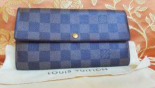Authenic Louis Vuitton Damier Ebene Shara long wallet