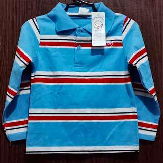 Kids Longsleeved Striped Poloshirt
