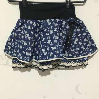 Cute Patterned Blue Skirt
