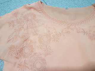 Peach cold shoulder embroidered top