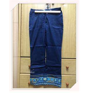 民族風刺繡牛仔褲
