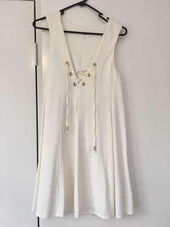 $200 seed white lace up dress