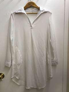 White see through dress w pockets