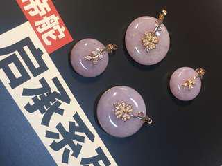 天然緬甸玉,紫羅蘭平安扣一手,種水靚,潤度足,價格大眾化,可單件出,HK2300/件,