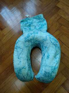 Typo Neck Pillow Memory Foam Map Print Travel Portable