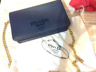 Prada blue chain bag