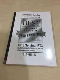 ANDREW CHOO PT3 Exam tips
