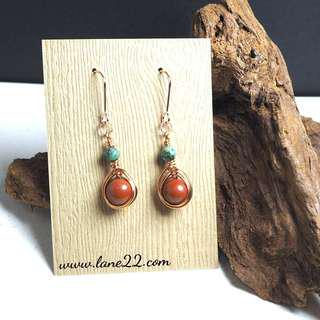 Jasper, African Turquoise handmade natural stone earrings in non tarnish copper wires, rose gold tone
