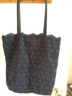 深藍暗花tote bag