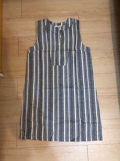 韓國製無袖條紋洋裝