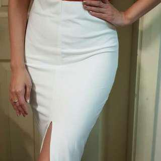 Forever 21 2-way white skirt with front slit