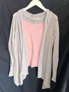 Hollister california knitwear + pink tank top 針織外套 薄