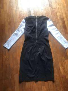 Victoria secret body con black knee length with white sleeves v neck