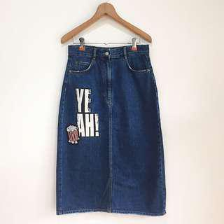 Zara A-line jeans denim midi skirt with patches