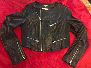 Soia & Kyo Designer cropped black leather biker jacket size SMALL
