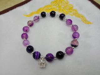 🚚 夢幻紫水晶手珠8mm,純銀配件