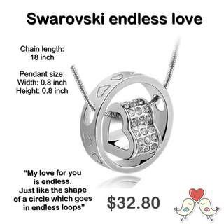 🚚 Swarovski endless love necklace