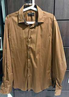 Celio Long Sleeve Shirt Brown