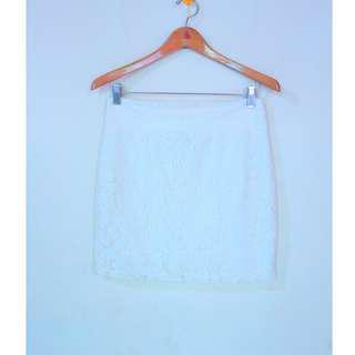 Cotton on white lace skirt