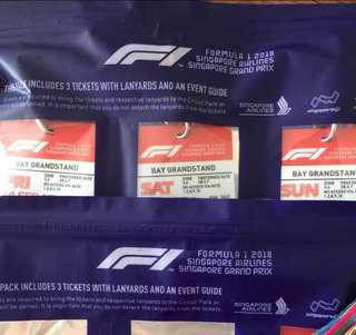 Singapore F1 Bay Grandstand Ticket Friday Saturday with concerts