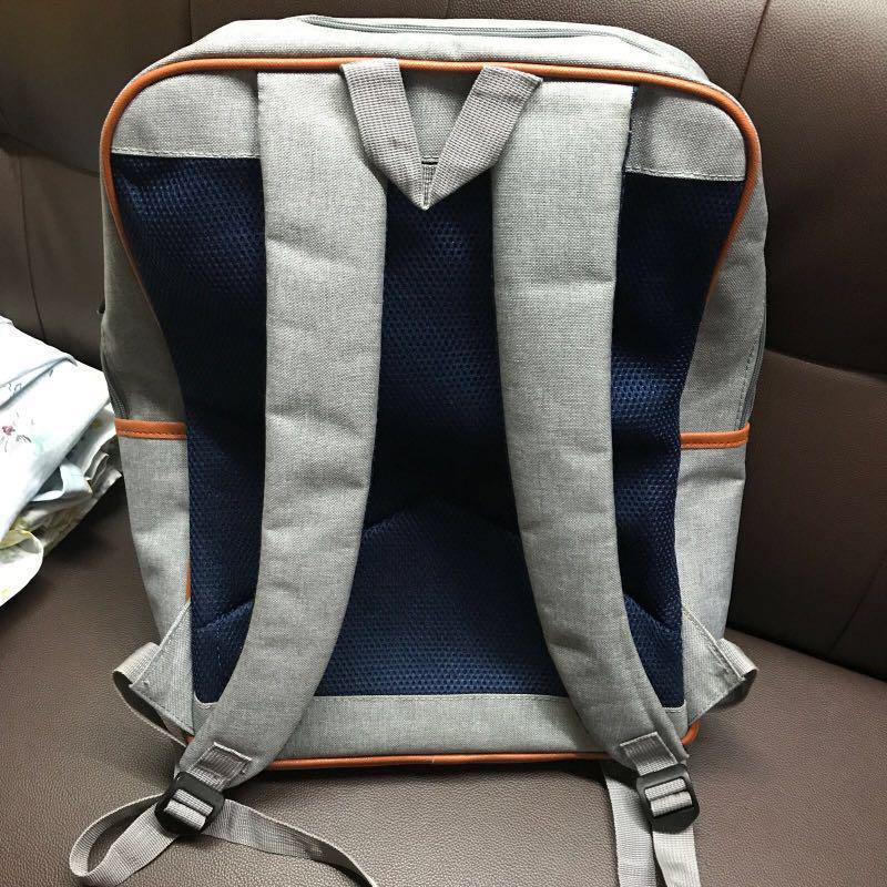 韓國 Virtual Galletto backpack 淺灰色啡色邊背包 多袋背囊 文青 出街 旅行 返工袋