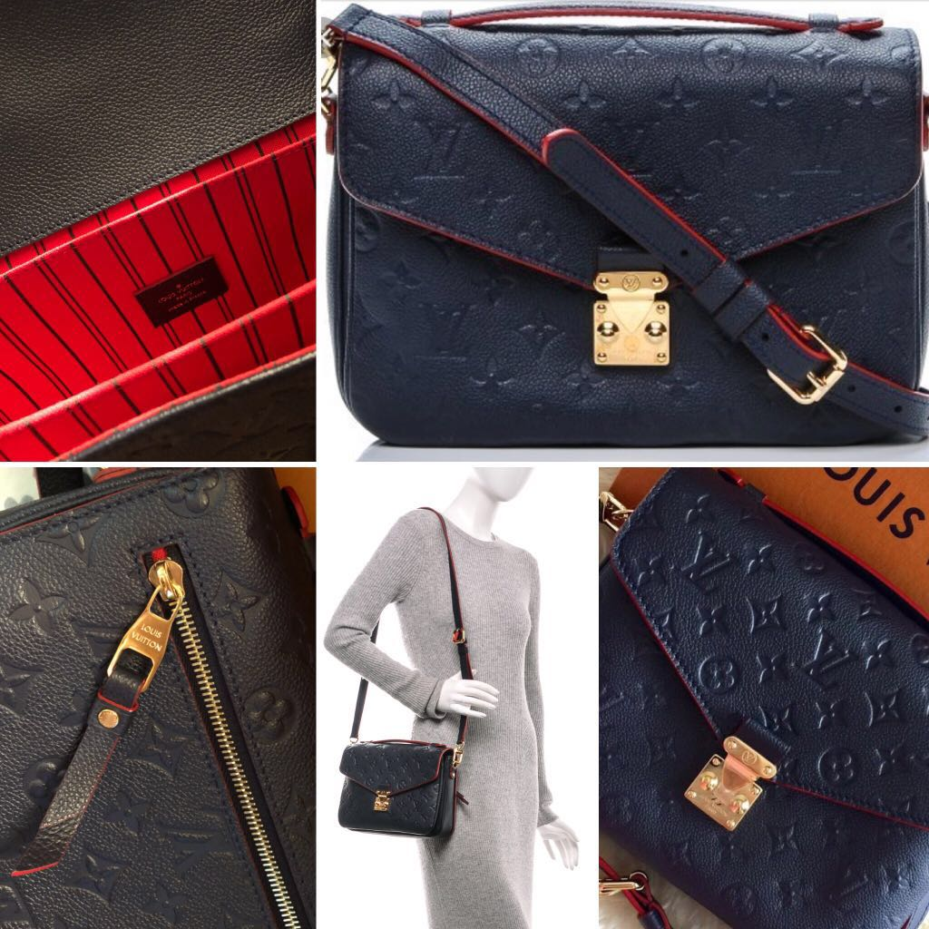 3b6e0c59f48f Authentic Louis Vuitton Monogram Empreinte Pochette Metis in Marine ...